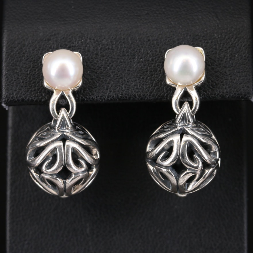 Ann King Sterling Pearl Openwork Earrings