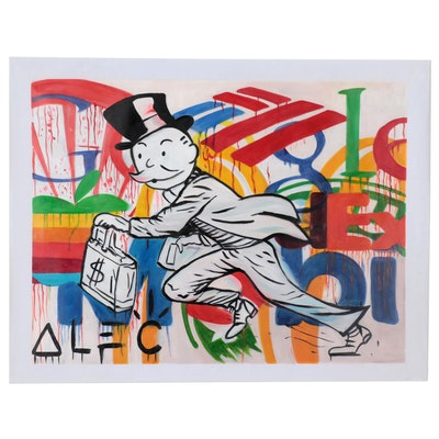 "Oil Painting over Giclée after Alec Monopoly ""Corporatism,"" 21st Century"