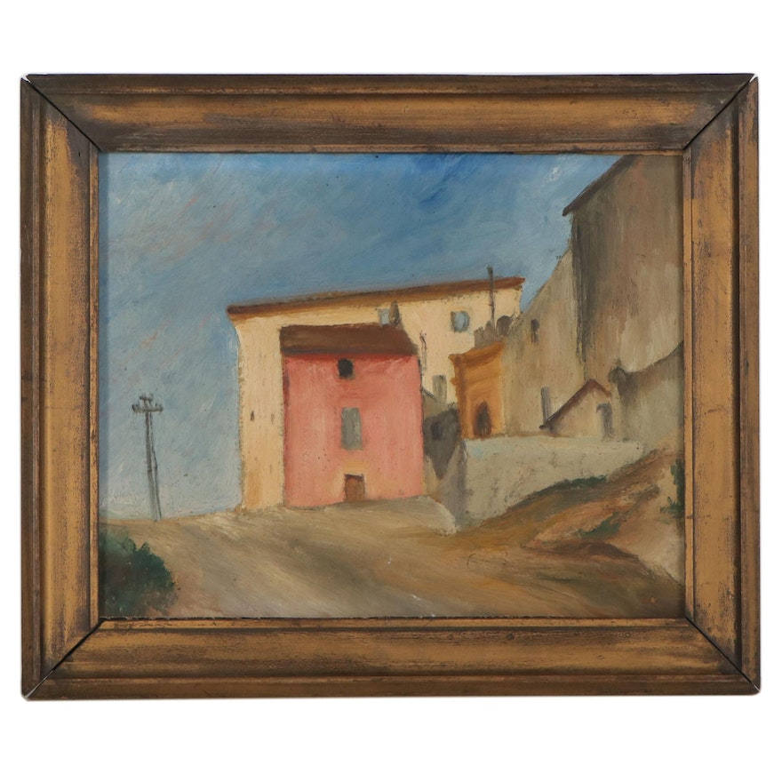 Urban Landscape Oil Painting, Mid-Late 20th Century