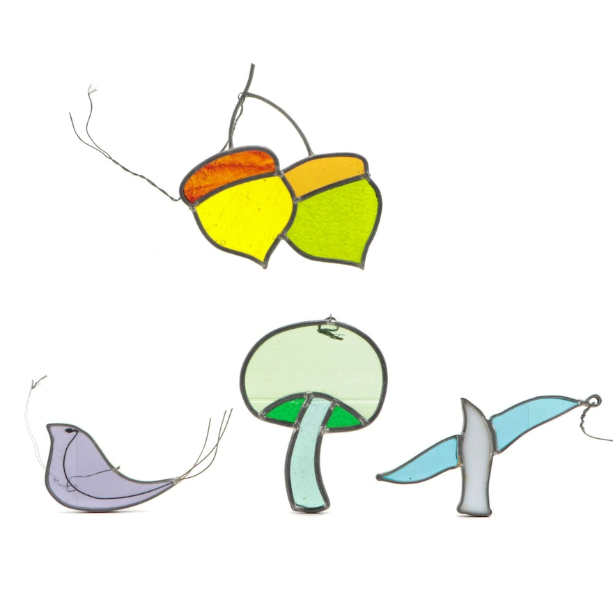 Stained Glass Birds, Acorns, and Mushroom Decorative Hangings