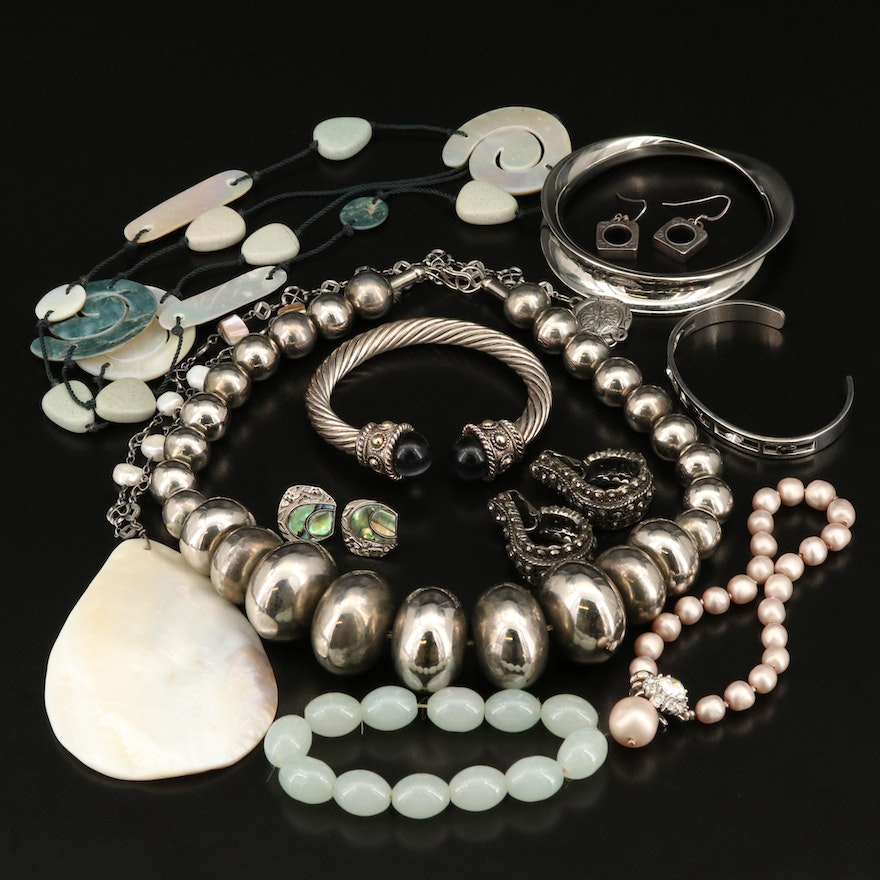 Jewelry Including Sterling Earrings and Graduated Bead Necklace