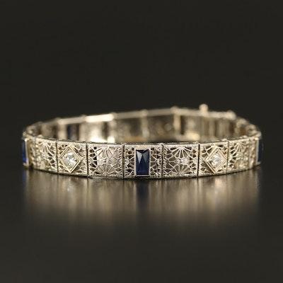 Art Deco 14K Diamond and Sapphire Filigree Bracelet