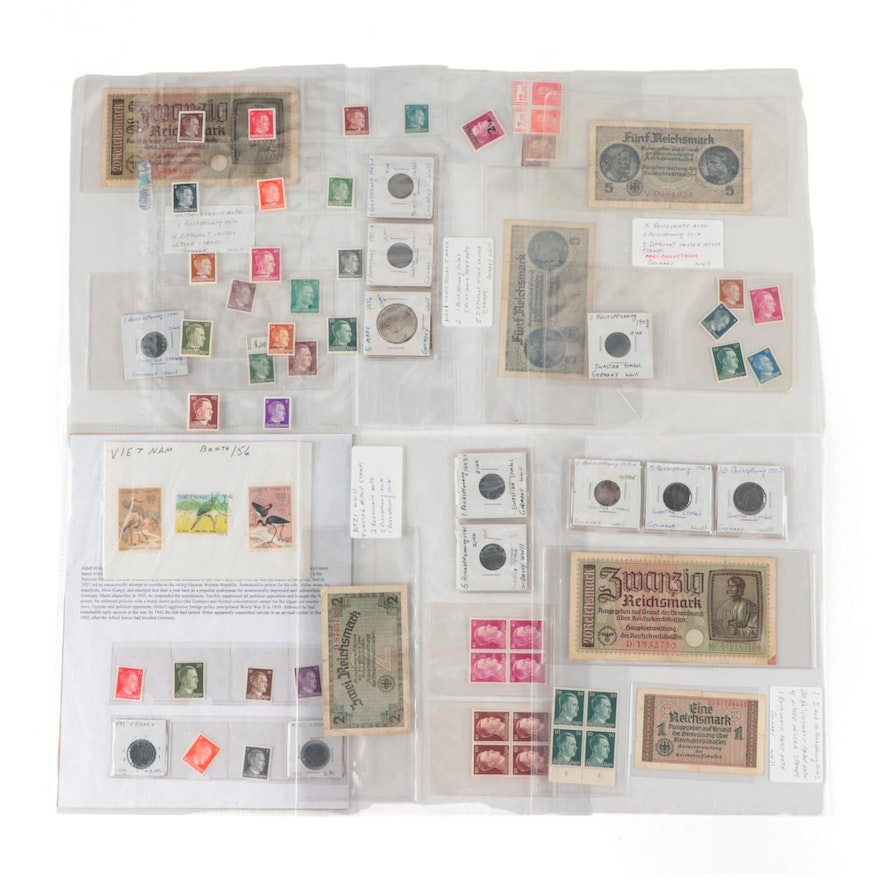 WWII Era German Stamps, Coins and Currency