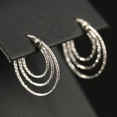 14K Textured Triple Hoop Earrings