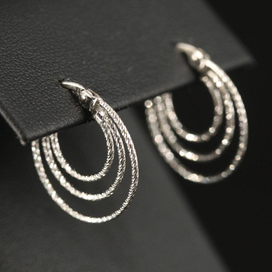 14K Textured Triple Hoop Earrings
