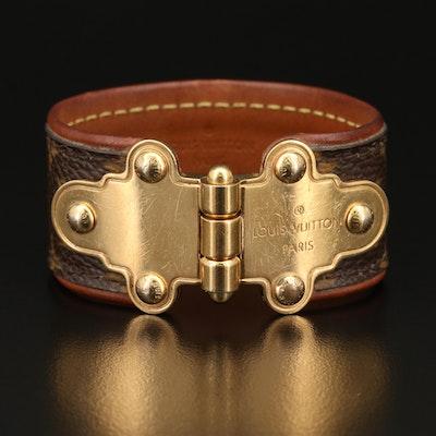 """Louis Vuitton """"Save It"""" Brown Leather Monogram Bracelet"""