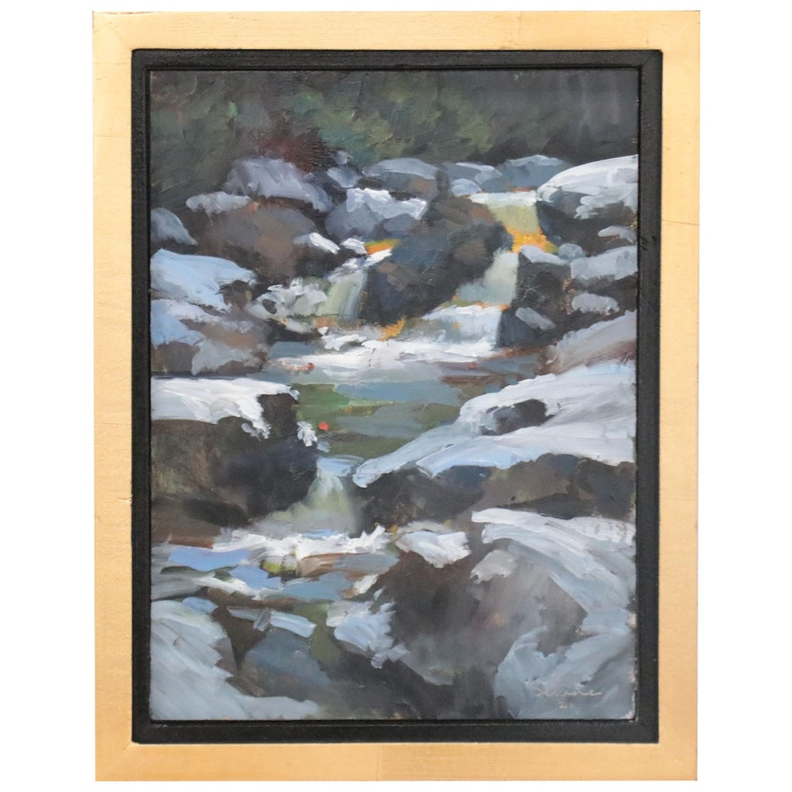 Shane Harris Landscape Oil Painting with River, 21st Century