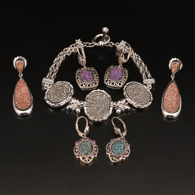 Sterling Druzy Bracelet and Earrings with Amethyst Accents