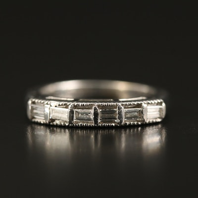 14K Diamond Ring with Milgrain Detail