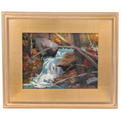 "Shane Harris Landscape Oil Painting ""Waterfall Dreams,"" 2020"