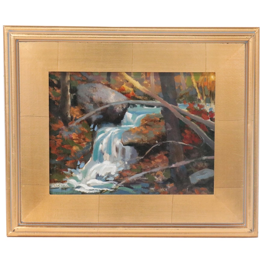 "Shane Harris Landscape Oil Painting ""Waterfall Dreams,"" 2020"