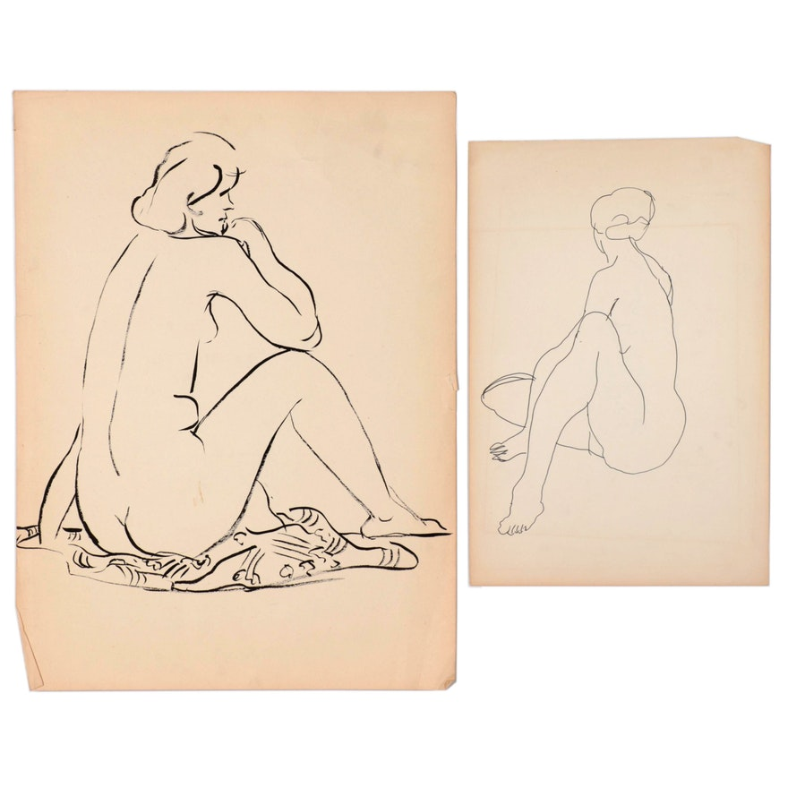 W. Glen Davis Female Figure Study Ink Drawings
