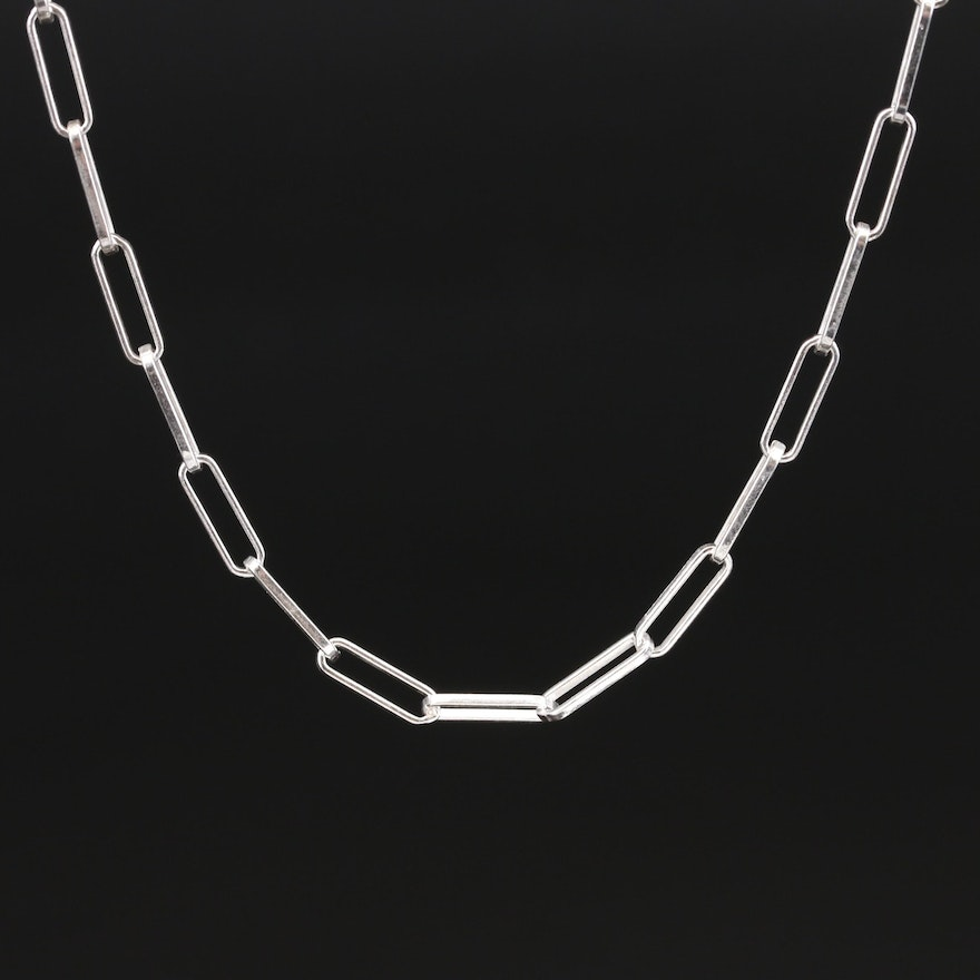 Italian Sterling Silver Oval Cable Chain Necklace