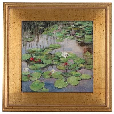 """Garncarek Aleksander Landscape Oil Painting """"Water Lilies,"""" 2020"""