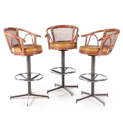Three Bamboo, Rattan, Vinyl and Metal Barstools, Mid-20th Century
