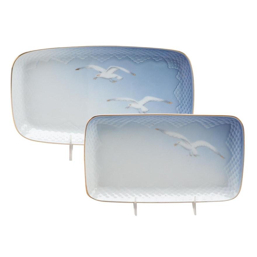 """Bing & Grøndahl """"Seagull"""" Porcelain Rectangular Trays, Late 20th Century"""