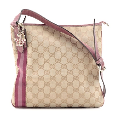 Gucci Jolicoeur Charms Messenger Bag in GG Canvas and Pink Leather Trim