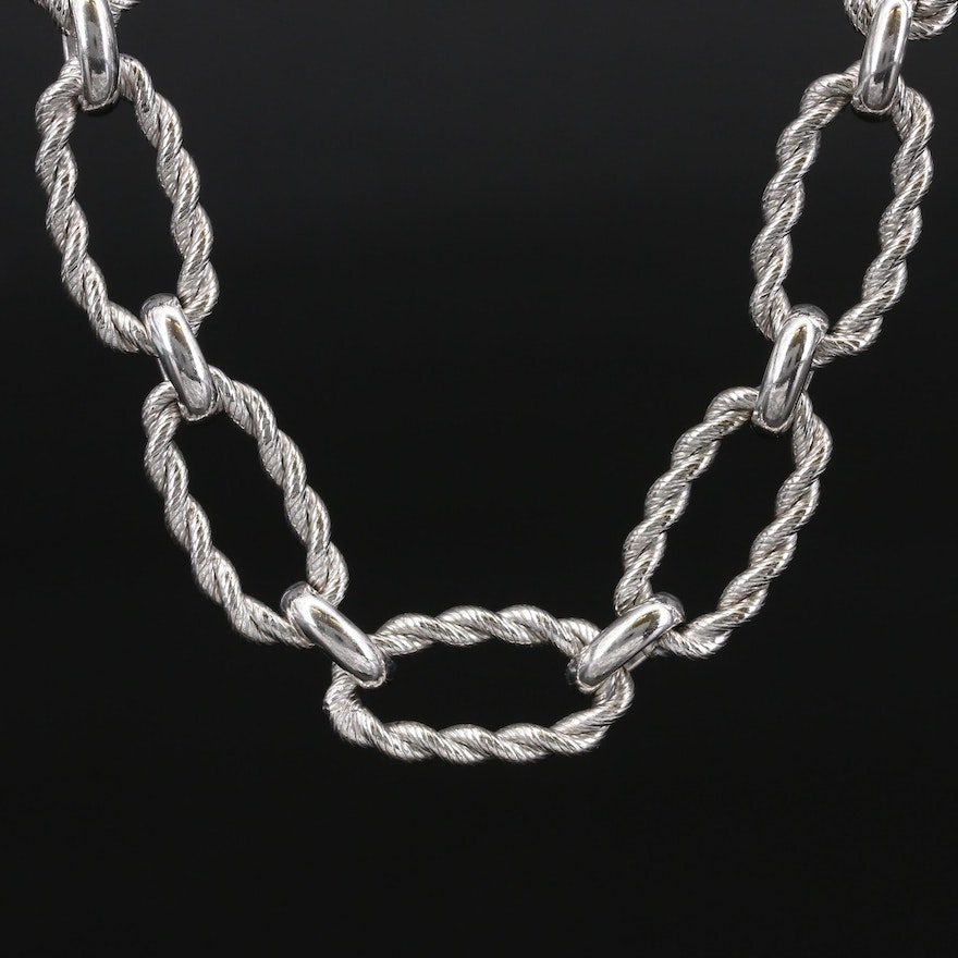 Judith Ripka Sterling Silver Cubic Zirconia Twisted Cable Link Necklace