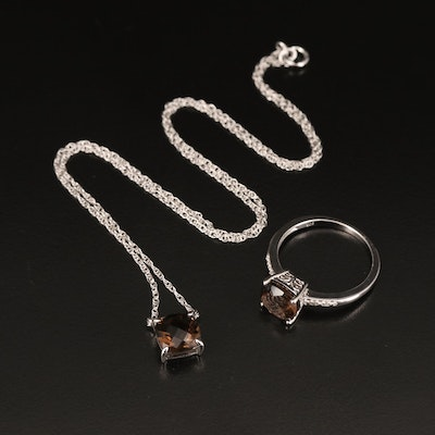 Sterling Necklace and Ring with Smoky Quartz and Diamond