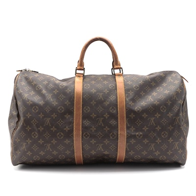 Louis Vuitton Keepall 55 in Monogram Canvas with Leather Trims