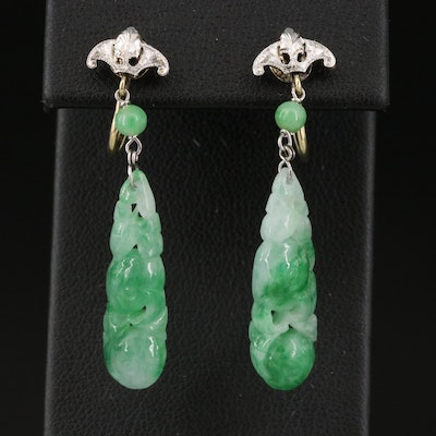 Jadeite Earrings with 14K Screw Backs and Platinum Accents