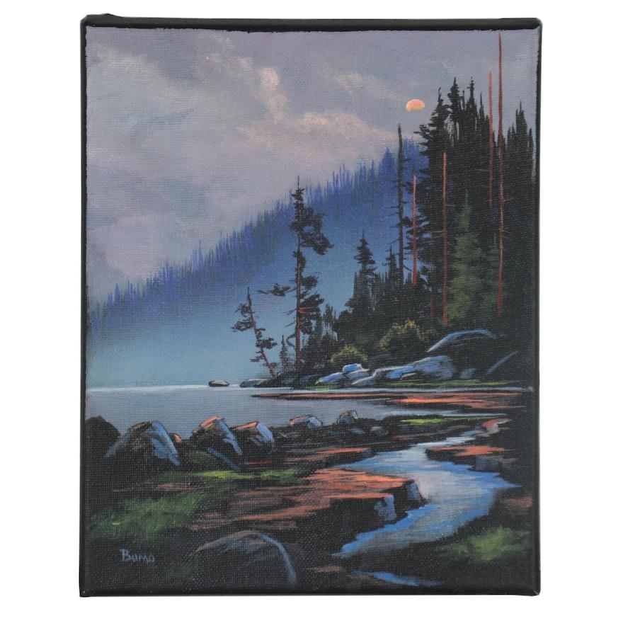 "Douglas ""Bumo"" Johnpeer Landscape Oil Painting ""Look,"" 2021"