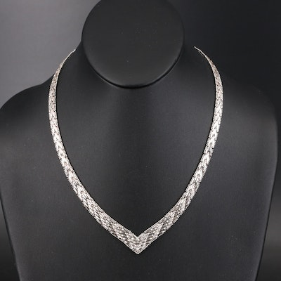 Italian Sterling Silver Riccio Chevron Necklace