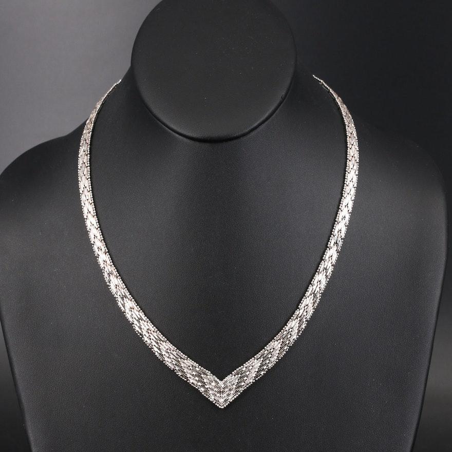 Italian Sterling Silver Riccio Chevron Necklace