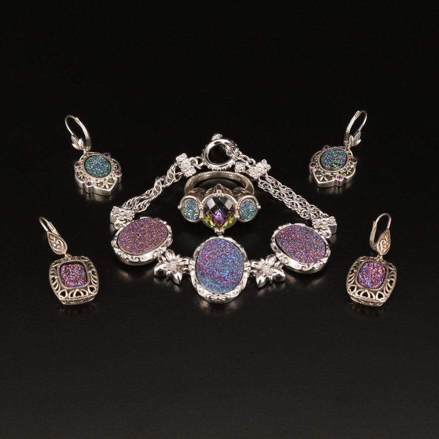Sterling Druzy and Mystic Quartz Earrings and Bracelet