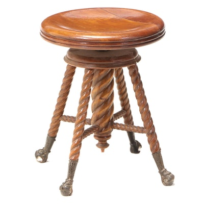 The Charles Parker Co. Late Victorian Adjustable Piano Stool