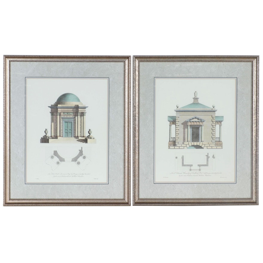 Lithographs after William Chambers Architectural Elevations