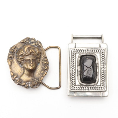 """Ben Amun Woven Leather and Other """"Gibson Girl"""" Belt Buckles"""