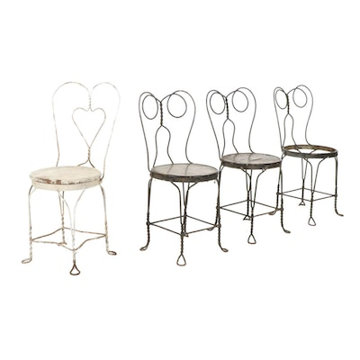 Victorian Style Twisted Iron Ice Cream Parlor Chairs, Early to Mid-20th Century