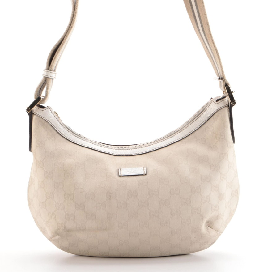 Gucci Hobo Messenger Bag in Beige GG Canvas with Leather Trim