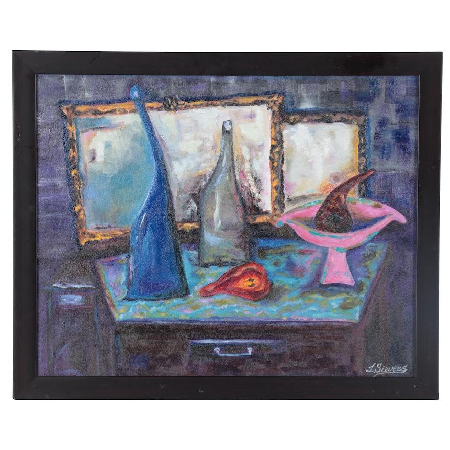 """Larissa Sievers Oil Painting """"Blue Bottle"""""""