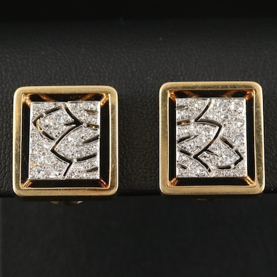 18K and Platinum 1.00 CTW Diamond Square Button Earrings