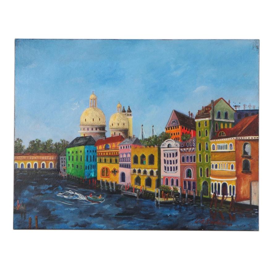 "Cityscape Acrylic Painting ""Venice,"" 2007"