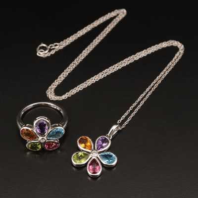 Sterling Floral Necklace and Ring Set Including Peridot, Topaz and Diamond