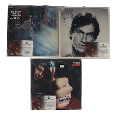 James Taylor, Don McLean and Janis Ian Autographed Records with COAs