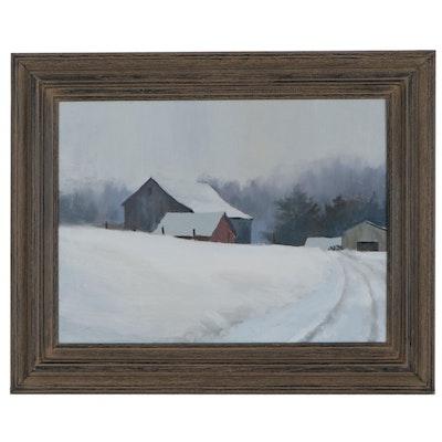 "Shane Harris Landscape Oil Painting ""Across the Field,"" 2021"