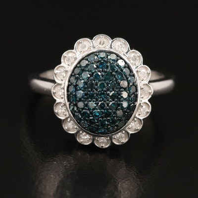 Sterling Diamond Ring with Fluted Halo
