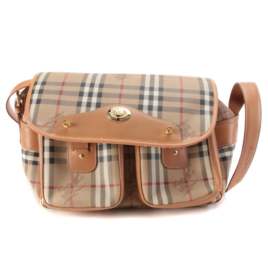 """Burberry Reporter Camera Bag in """"Haymarket Check"""" Coated Canvas and Leather"""