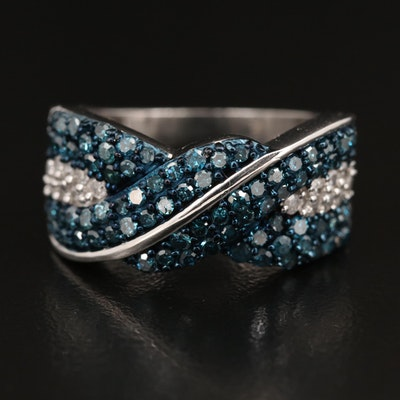 Sterling 1.23 CTW Diamond Crossover Ring