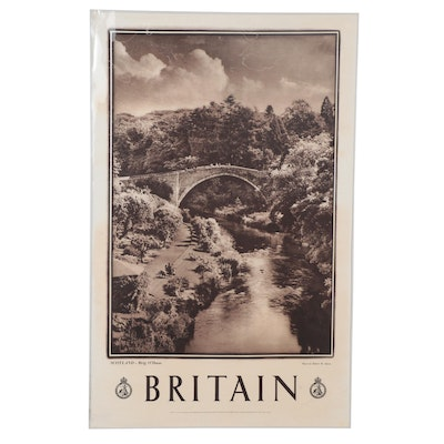 "Great Britain Rotogravure Travel Poster ""Scotland - Brig O'Doon,"" 1940s"