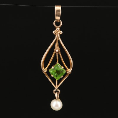 Circa 1900 10K Pearl and Faceted Glass Lavalier