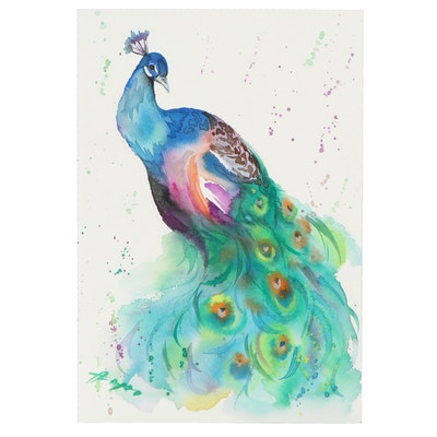 Anne Gorywine Watercolor Painting of Peacock
