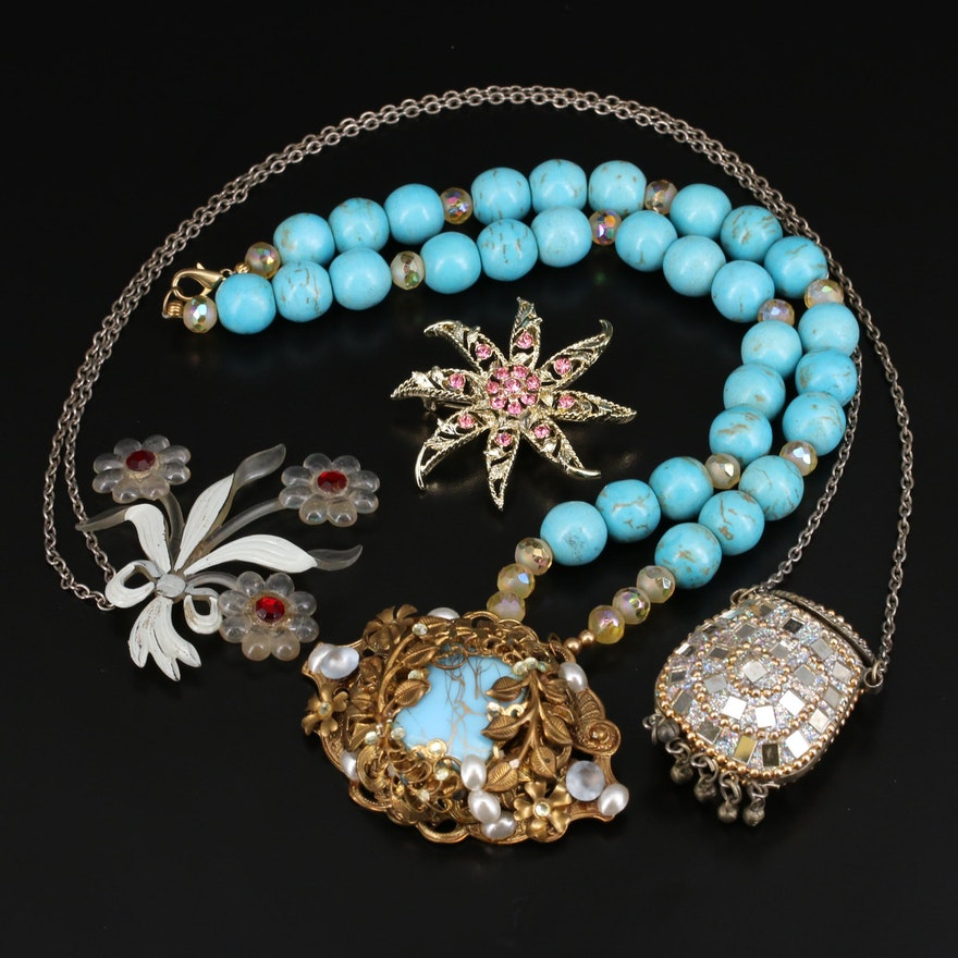 Howlite, Rhinestone and Early Plastic Jewelry Selection