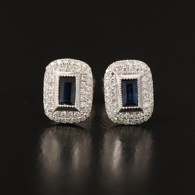 14K Sapphire and Diamond Halo Stud Earrings