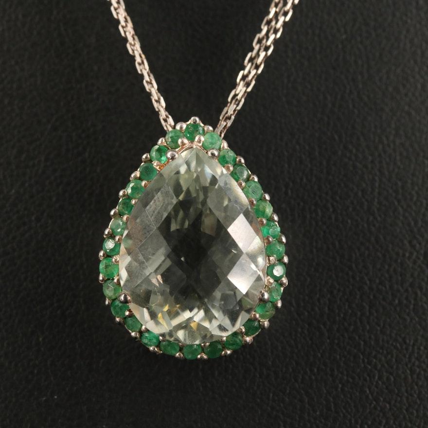 Sterling Prasiolite and Emerald Teardrop Necklace