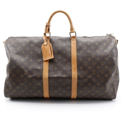 Louis Vuitton Keepall 55 Bandouliere in Monogram Canvas and Vachetta Leather